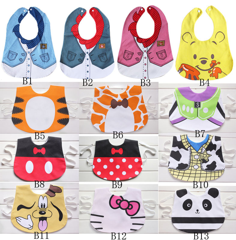 Free ship hot sale 20 pcs/lot Promotion Animal baby bibs with tie, Cartoon Animal Waterproof bibs baby Saliva towel(China (Mainland))