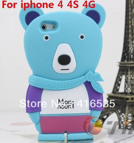 Retail 1pcs/lot  2013 new momo coolbear silicon case for iphone4 4s 4g cute rubber back cover case cellphone free shipping