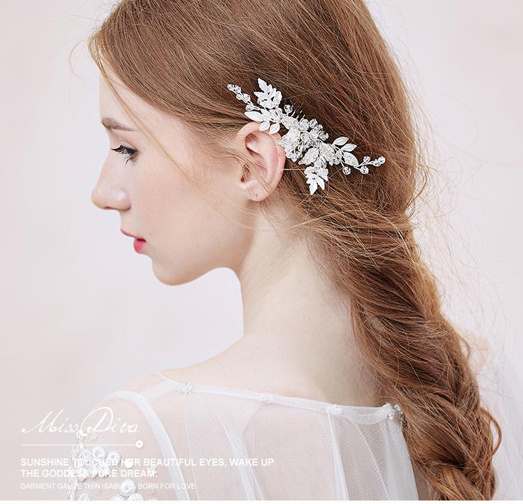 Lovely bridal hair combs crystal pearl leaf shape bridal  hair jewlry womens headdress  tiara hair accessories<br><br>Aliexpress