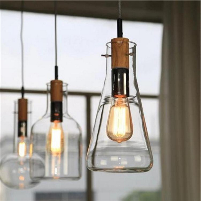 Creative clear glass red wine bottle pendant hanging lamp dinning room bar cafe restaurant home - Wine bottle light fixtures ...
