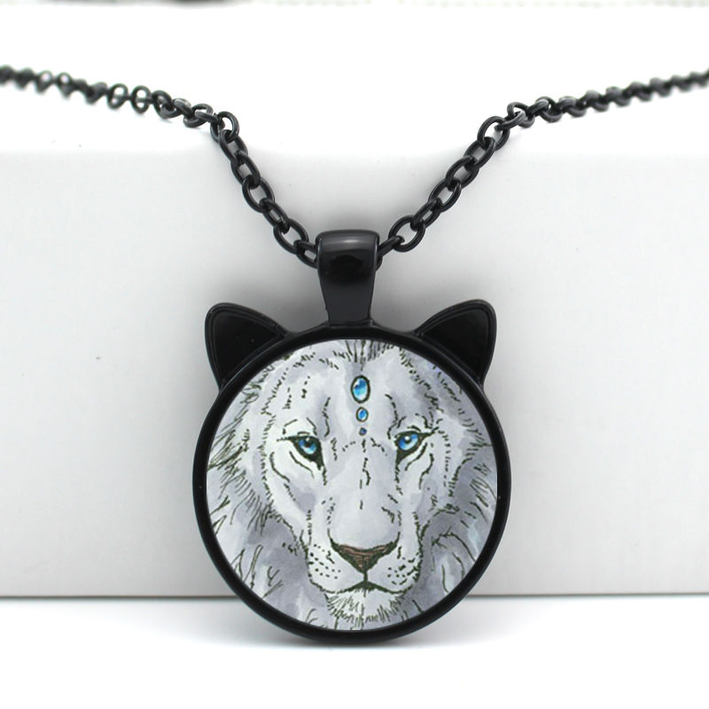 2016 New White Lion Pendant Lion Necklace Jewelry Girls Glass Cabochon Necklace N-00695(China (Mainland))