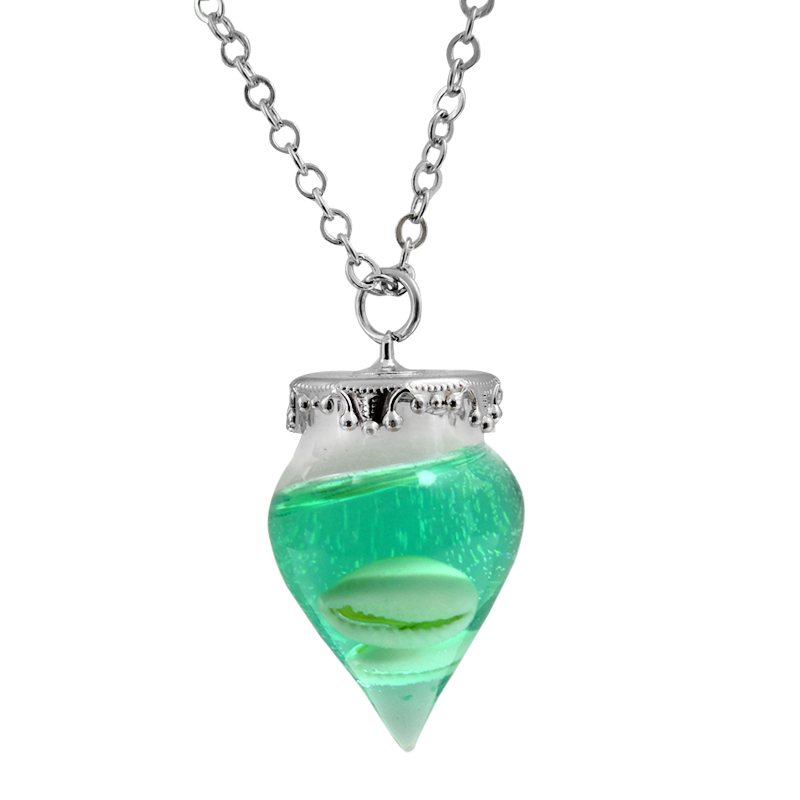 fashion white shell crystal necklace natural shell green solid pendant cute girl's favorite candy-colored glass ball necklace(China (Mainland))