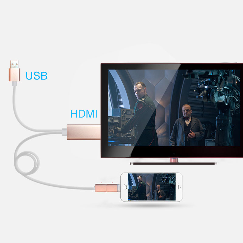 4 in 1 Micro USB Type C 8 Pin to HDMI Cable 1080P HDTV Adapter with Detachable Head For iPhone Android Phone Tablet(China (Mainland))