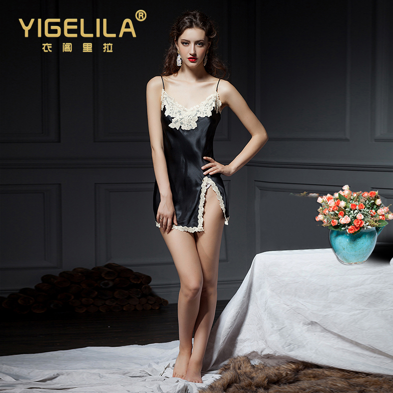 YIGELILA Europe and the major suit 2014 Hitz dress sexy water-soluble lace slit skirt