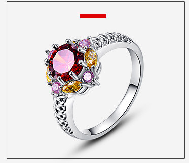 Jrose Bohemia Jewelry Wedding Party Rings Pink London Blue Topaz 18K White Gold Plated Fashion Ring for Women 2016 Wholesale