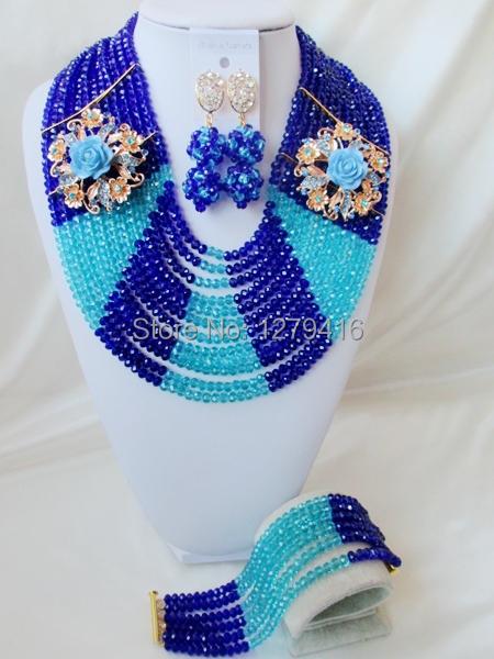 Luxury  Crystal Nigerian Wedding African Beads Jewelry Set AB002<br><br>Aliexpress