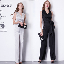Free Shipping 2016 New Fashion Summer OL Formal V-neck Jumpsuit For Women Silk Elegant Casual Long Pant Straight Trousers S-XL(China (Mainland))