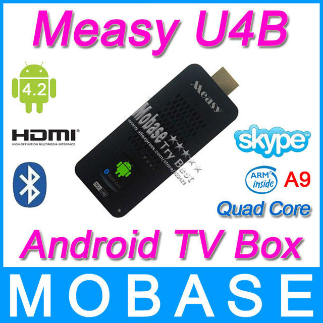 Measy U4B Android 4.2 TV Box Mini PC Stick RK3188 Quad Core 1.6Ghz 2G RAM 8G ROM HDMI WiFi Bluetooth for Smart Television Set