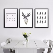 HOT Geometric Animals Nordic Deer Poster Canvas Painting Pop Art Prints Scandinavian Tree Decoration Pictures No Frame Home Deco(China (Mainland))