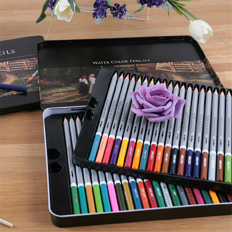 48 color water-soluble colored pencil drawing colored pencil drawing iron box