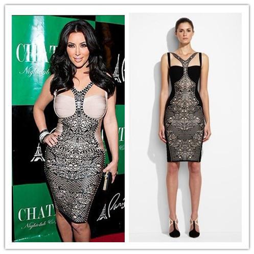 Beige and Black Colour Women's Print HL Bandage Dress Kim Kardashian Celebrity Dress Evening Party Dress High Quality (China (Mainland))