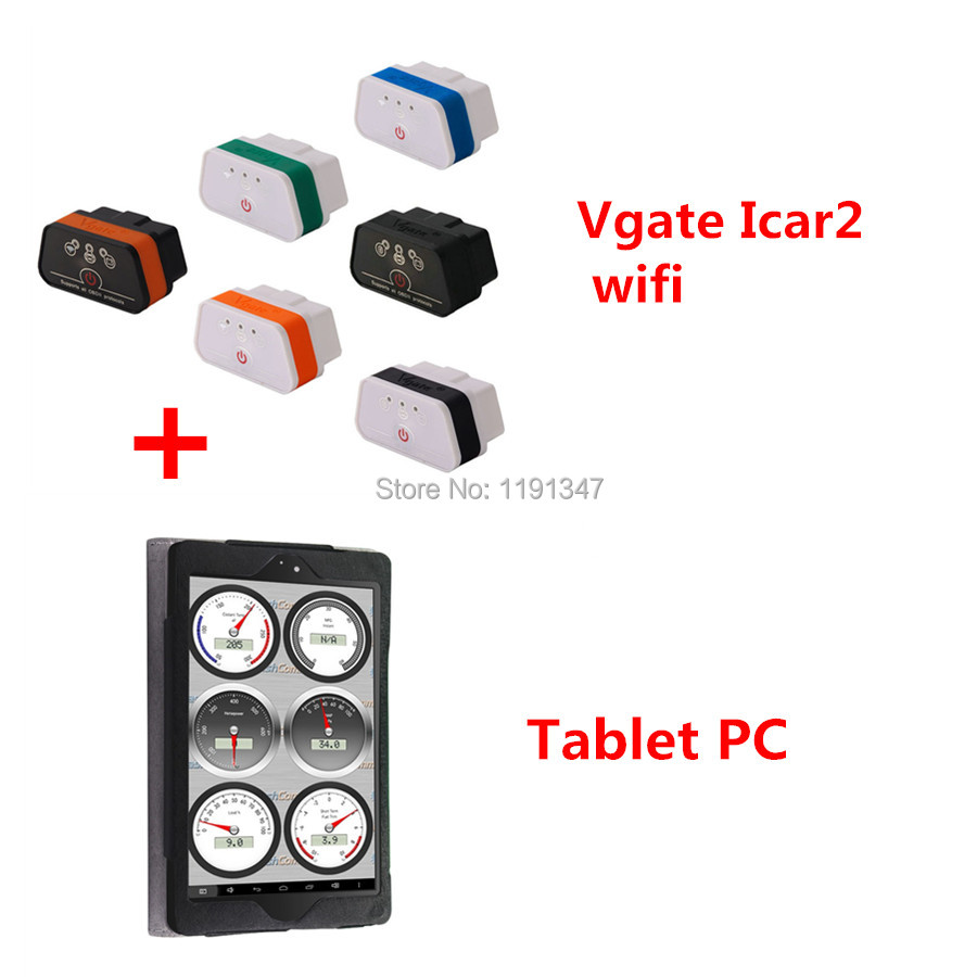 Vgate Wifi iCar 2 with Tablet PC OBDII ELM327 iCar2 wifi vgate OBD diagnostic interface for IOS iPhone iPad Android(China (Mainland))