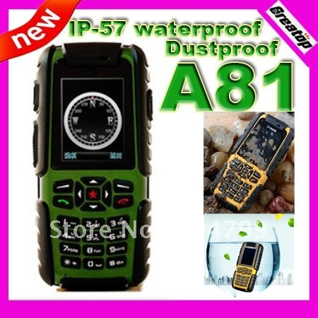 100% Original U-mate A81 IP-57 waterproof dustproof mobile phone quad band dual sim outdoor phone russian keyboard potional