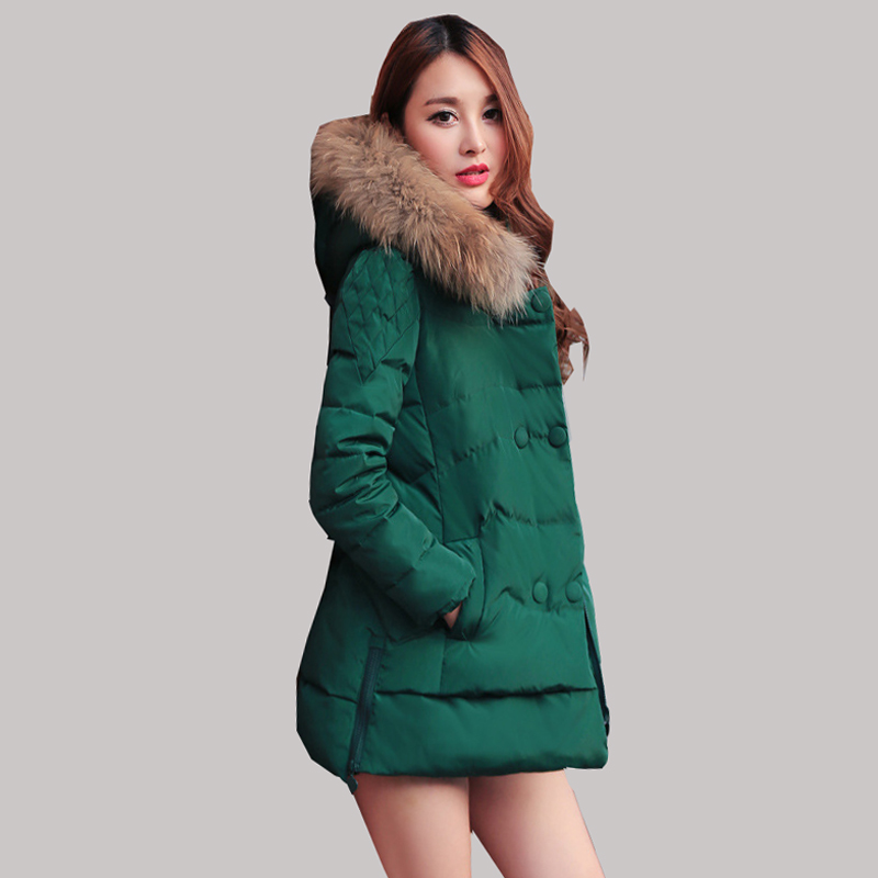 2015 new Women Slim and long sections thicker down jacket women Nagymaros collar winter fashion hooded coat big yards L0062