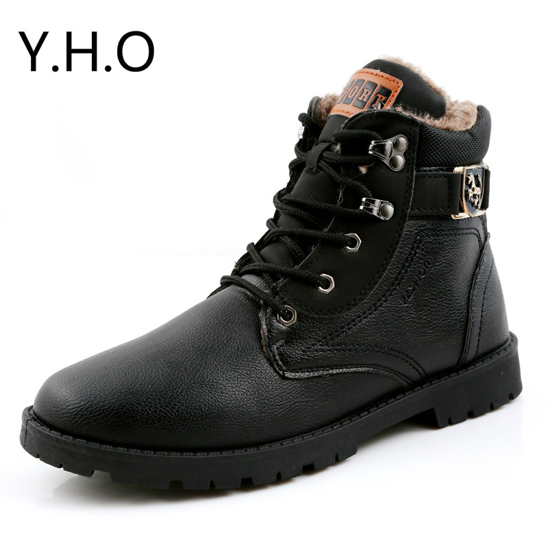 Hot Warm Men Winter Martin Boots Men shoes Plush Outdoor Waterproof Rubber Snow Tooling boots Leisure Leather Boot Flats
