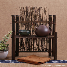 Japanese tea cup frame fence hollow bamboo fence with zero screen photography background decoration bamboo fence tea set