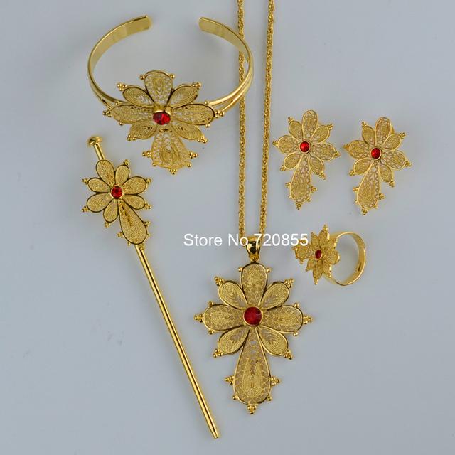 Новый крест эфиопские комплект ювелирных изделий 22 К позолоченные цепь / серьги ...
