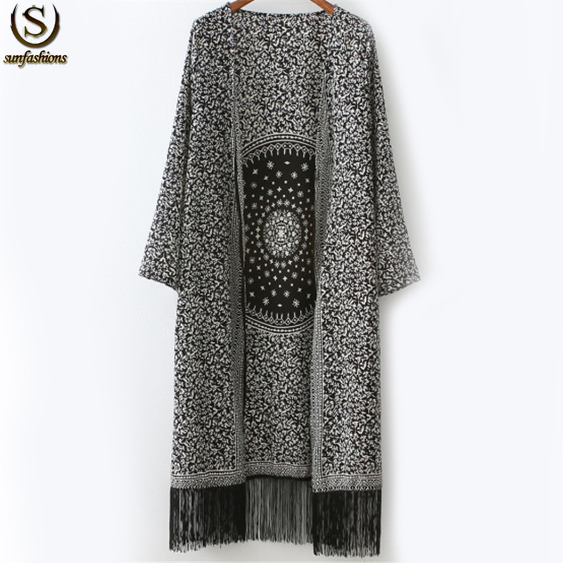 Newest Autumn Tops Cheap Branded Clothing Women Black White Floral Printed Tassel Loose Casual Long Sleeve Long Kimono(China (Mainland))