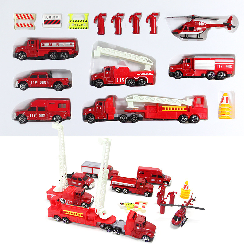 New Red plastic + Alloy simulation fire fighting truck Sets inertia model for children play game Save safe toy car for kids(China (Mainland))