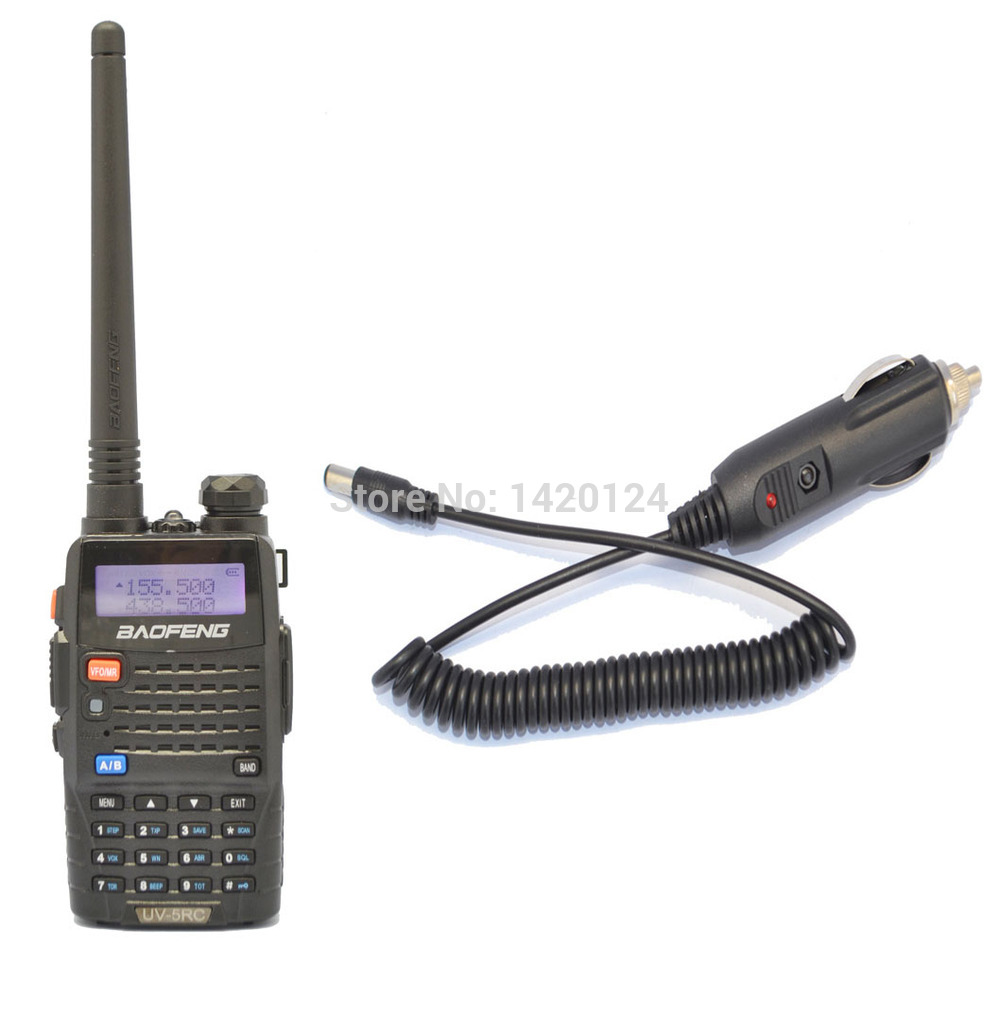 portable radio sets New Black BAOFENG UV-5RC walkie talkie VHF/UHF Dual Band two way Radio + Car Charger Cable +free shipping(China (Mainland))