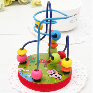 4017 Min order $10 (mix order) free shipping 2013 new arrival educational wooden toys colorful around beads toys for babies