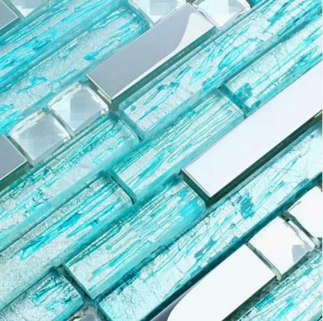 Silver glass tile backsplash