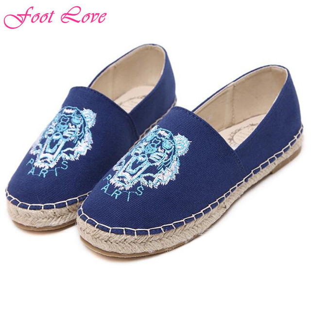 2016 новое женская обувь мода соломы женщины мокасины свободного покроя скольжения на холст обувь на плоской подошве женщин размер 35 - 40
