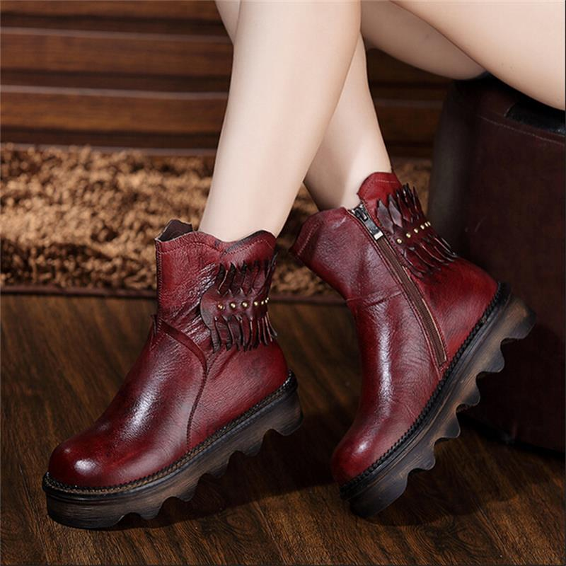 Winter women boots genuine leather handmade boots vintage women shoes flat heels platform casual platform boots ankle boots