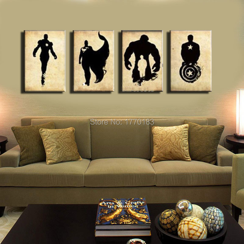 The Avengers! abstract handpainted black canvas poster painting superheroes Marvel Comics movies hero canvas art! New arrival!(China (Mainland))