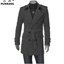PUNKOOL Arrival  Autumn- Winter Men Trench Coat Long Fashion Stylish Double-breasted Coat Thick Warm Men  Trench 2 Colors!!(China (Mainland))