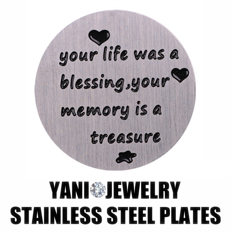 10pcs/lot Your Life Was Blessing Stainless Steel 30mm Floating Locket Window Plates Fit Living Memory Locket(China (Mainland))