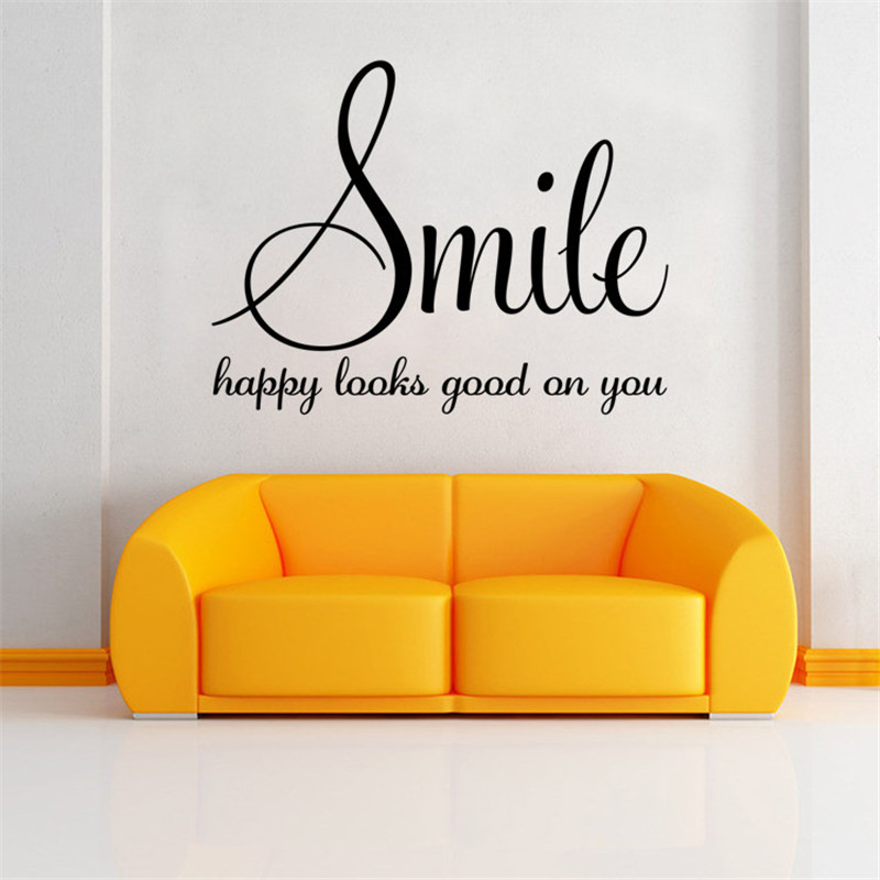 Smile happy looks good on you Inspirational Quotes DIY Art Wall ...