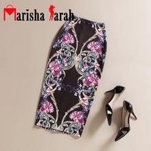 Summer Autumn Black Vintage Fashion Floral Printed Pencil Skirt Midi Women Knee-Length Elastic High Waist Office Ladies Skirts