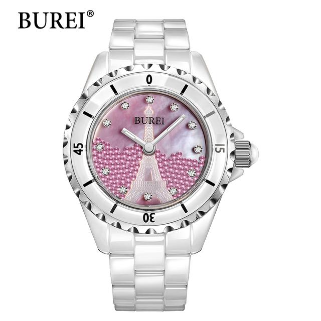 Женщины Смотреть BUREI Топ Модного Бренда Женские Случайные Часы Diamond Керамические Сапфир Ремешок Водонепроницаемый Кварцевые Наручные Часы Горячая Продажа