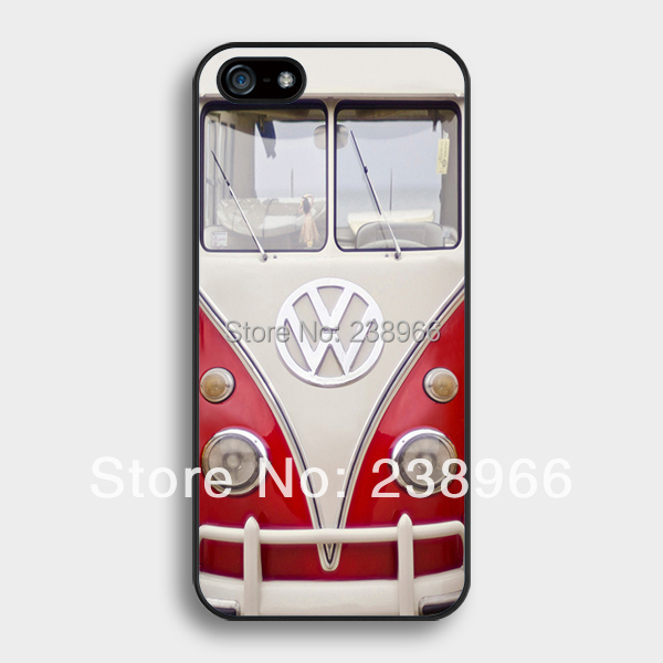 Free Shipping - VW Mini Bus Vintage Volkswagen Bus Red Hard Back Cover Case For Apple iPhone 4 4S 5 5S 5C 6 6 Plus - A131(China (Mainland))