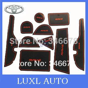 Free shipping 2013 2014 Toyota RAV4 PVC door gate slot pad/mat tank gasket cup mat/pad 10pcs auto accessories NO:Red Bule(China (Mainland))