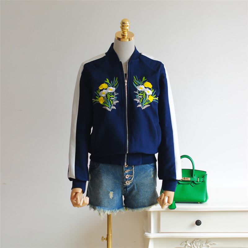2016 new women bomber jacket zip-up in dark blue with flower embroidery female autumn basic coat outerwear short cheap sale 008(China (Mainland))
