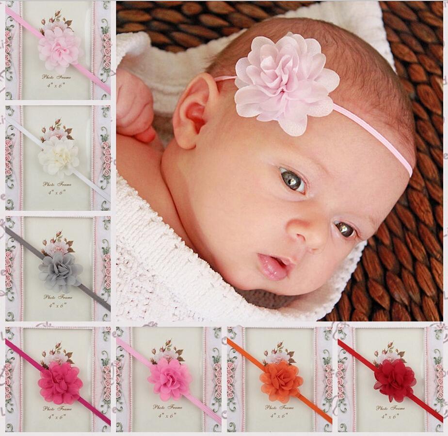 Promotion 1 pcs Newborn Baby Kids Girls Toddler Mini Chiffon Flower Elastic Headband Hairband Flower Baby Hair Accessories(China (Mainland))