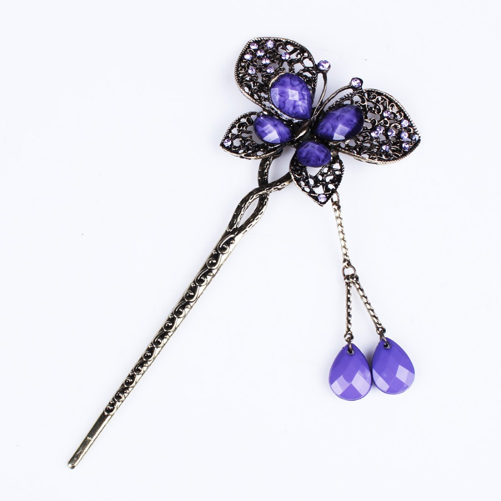 Vintage Fashion Jewelry Hair Wear Hair Plug Women Girl Headdress Headwear Hairpin Rhinestone Butterfly Hair Sticks FS9037(China (Mainland))