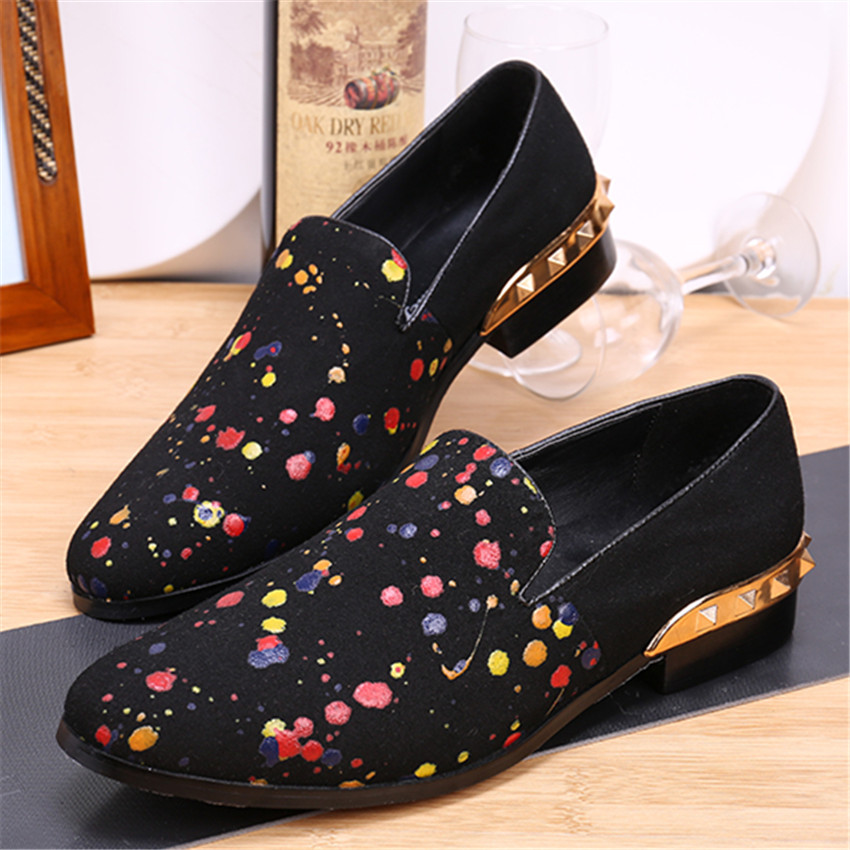 colorful dot print loafers slip on flats prom dress