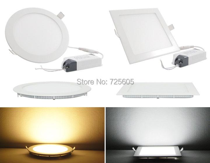 Ultra thin 3W 6W 9W 12W 15W 18W/ 24W LED Ceiling Recessed Grid Downlight Slim Led Panel Light Round Square ( Default 12W )(China (Mainland))