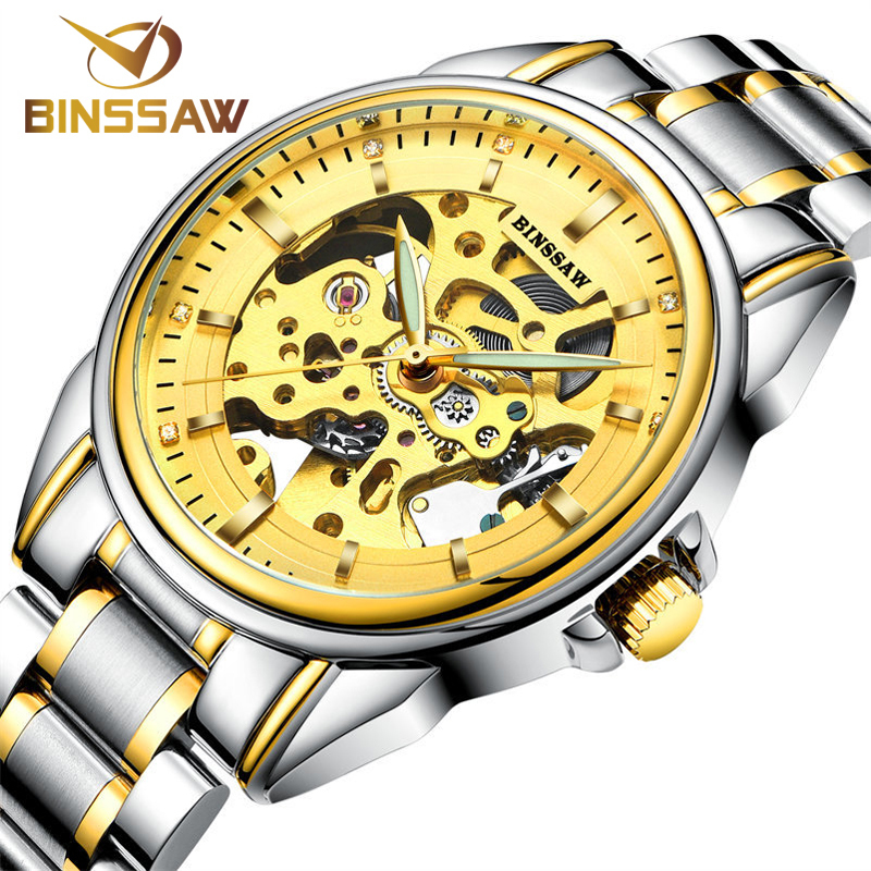 Фотография New Arrivals 2016 BINSSAW Luxury Brand Automatic Mechanical Watch Men Skeleton Swimming Watches Men Stainless Steel Wristwatches