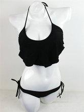 2016 Hot Sale Cheap Bikini Sets Women Sexy Bandeau Swimming Wear Retro Ruffle Swimwear Tie Side Brazilian Swimsuits Swim Wear