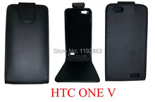 2014 Black Luxury PU Leather phone Case Cover For HTC one V Free Shipping(China (Mainland))