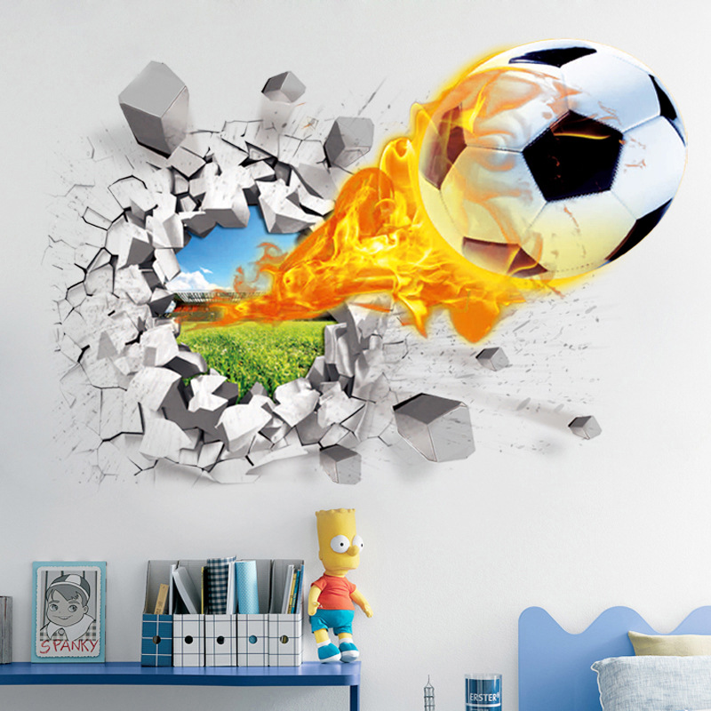 Firing Football Through Wall Stickers Kids room decoration Wall decals Home Decor 3d Mural art Sport PVC Poster Free Shipping(China (Mainland))