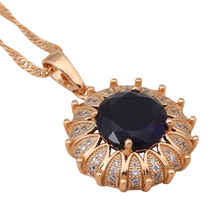 Delicate Big flower Design 18K gold plated Blue Topaz AAA Zirconia Crystal Fashion Jewelry Necklaces & Pendants for Ladys LN163A