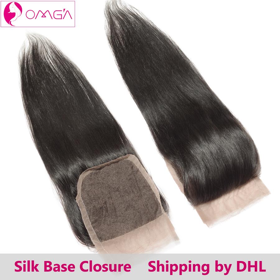 OMGA Peruvian Silk Base Closure Straight Hair Free Middle Three Part Closure Human Hair Extensions Peruvian Hair Bleached Knots(China (Mainland))