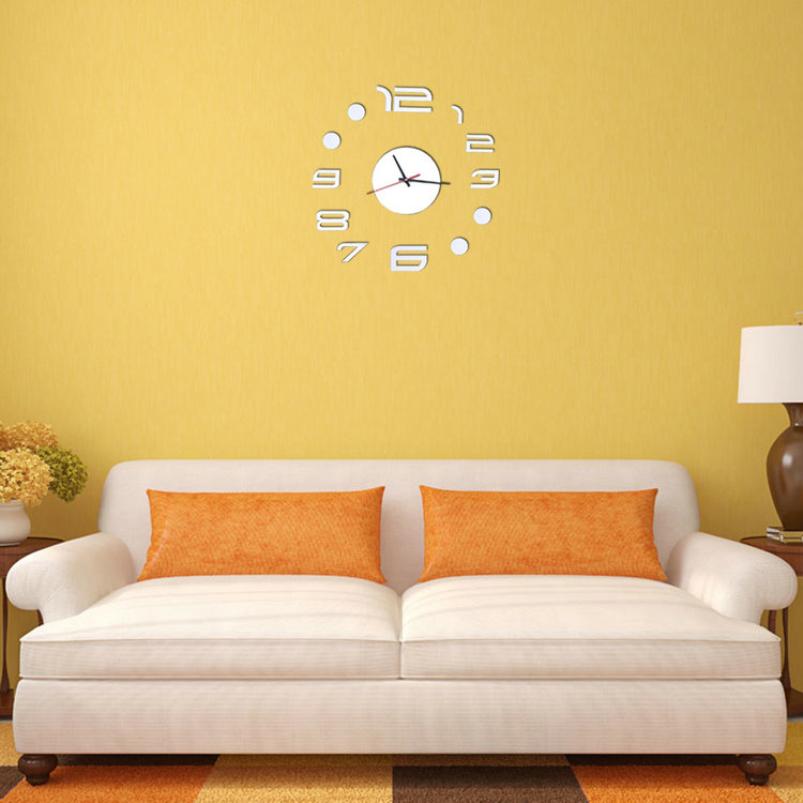 Large Digital Clock Wall Sticker Home Decoration For Living Room Modern Pvc Art Big Watch Pattern 3D Mirror Wall Clock Vinyl(China (Mainland))