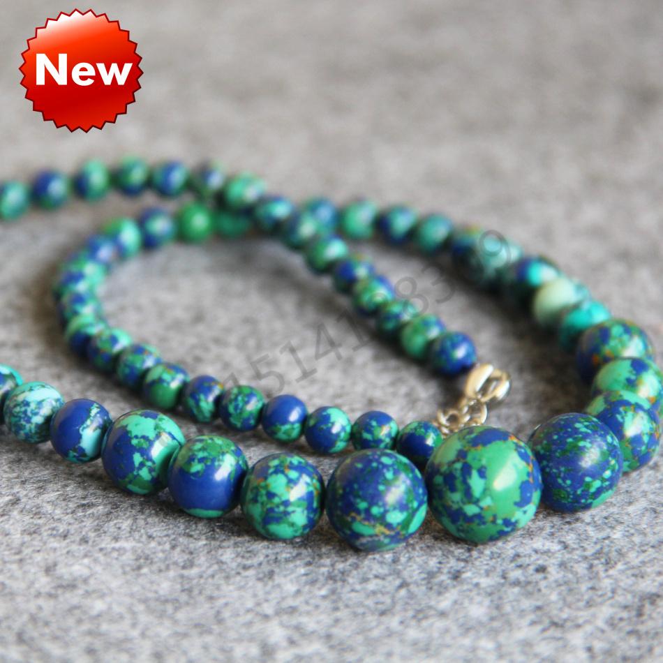 6-14mm Turkey Turquoise Green Flowers beads Jasper Howlite Necklace women girls gift 18inch Jewelry making design wholesale(China (Mainland))