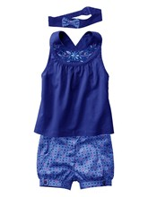 2015 New Girls Vest+Pants+Hair Band Three Piece Blue Suit Baby Summer Suit Children Costumes CL0770(China (Mainland))